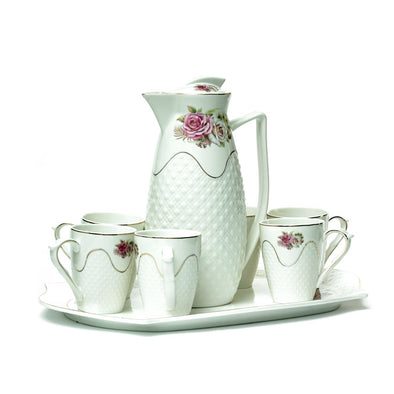 Delicate White Teapot,Mugs & Tray Set With Pink Rose Detail