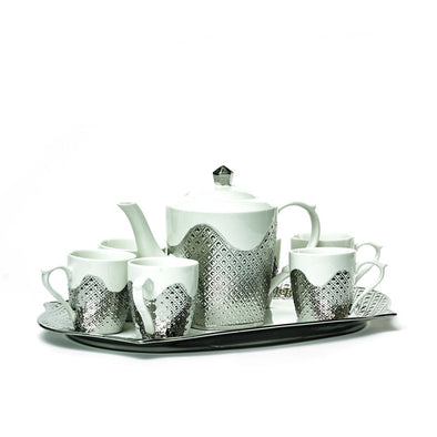 Bohemian Silver & White Teapot,Mugs & Tray Set