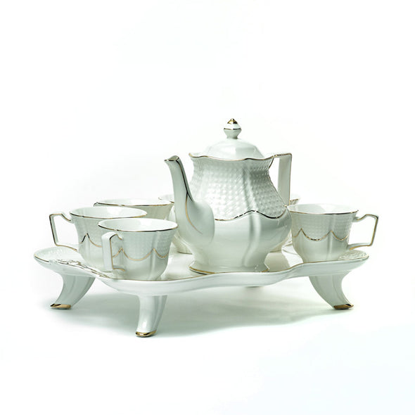 Classic White & Gold Teapot,6 Cups & A Unique Tray Set