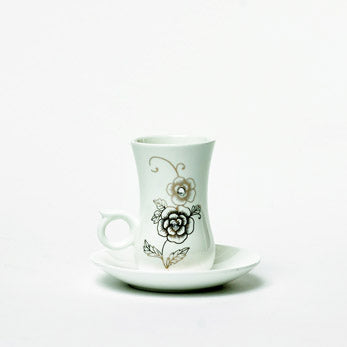 Persian White & Bronze Flowered 6 Cups & Saucer Gift Set