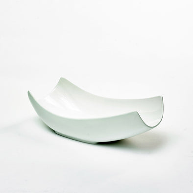 Classic White Porcelain Large Curved Salad Bowl