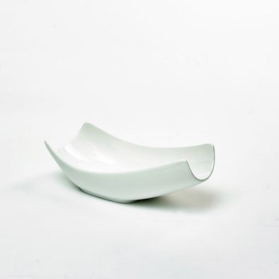 Classic White Porcelain Medium Curved Salad Bowl