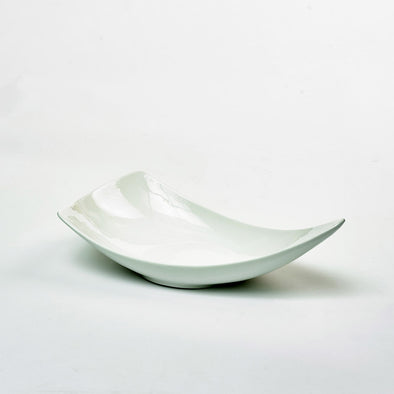 Classic White Porcelain X-Large Triangular Curved Salad Bowl