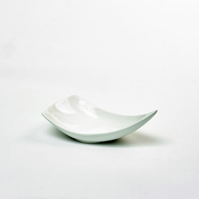 Classic White Porcelain Large Triangular Curved Salad Bowl