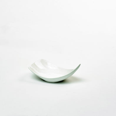 Classic White Porcelain Medium Triangular Curved Salad Bowl