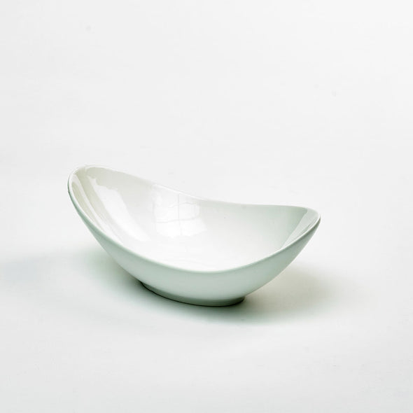 Classic White Porcelain Large Deep Curved Salad Bowl