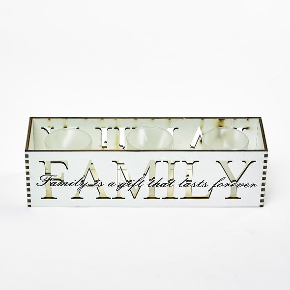Family Engraved Wood & Glass Tealight Candle Holder