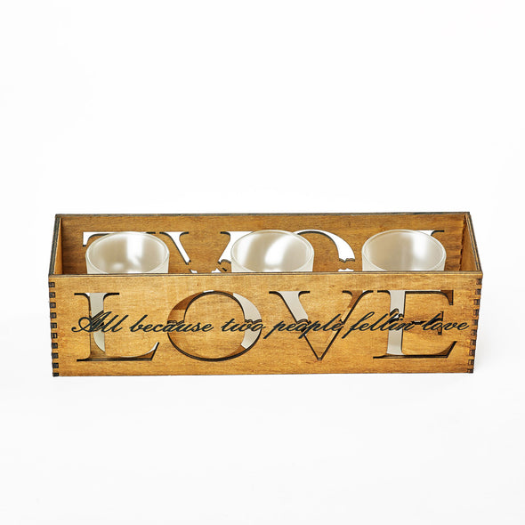 Love Engraved Wood & Glass Tealight Candle Holder