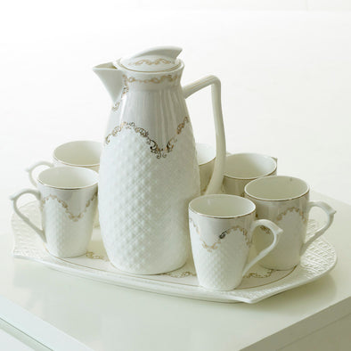 Delicate White Teapot,Mugs & Tray Set With Elegant Gold Detail