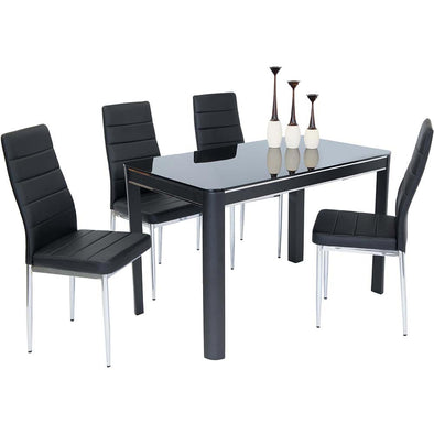 Morano Dining Set Black 4 Maxi Chairs