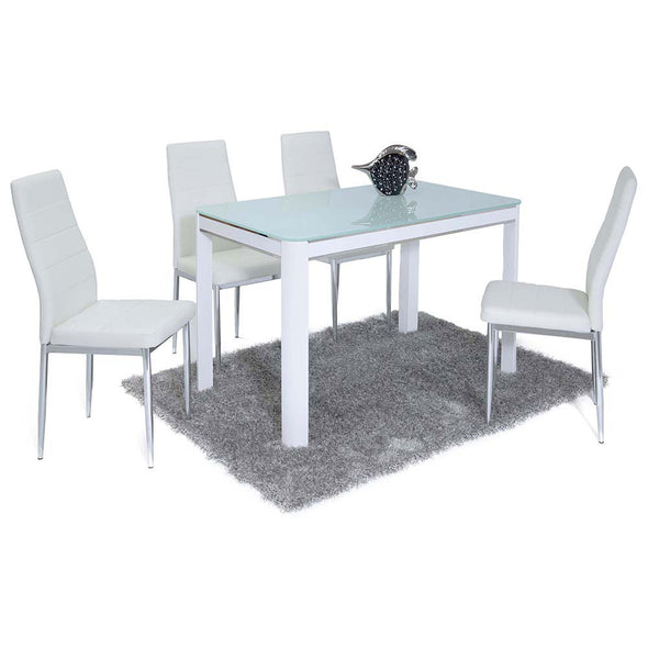 Morano Dining Set White 4 Maxi Chairs