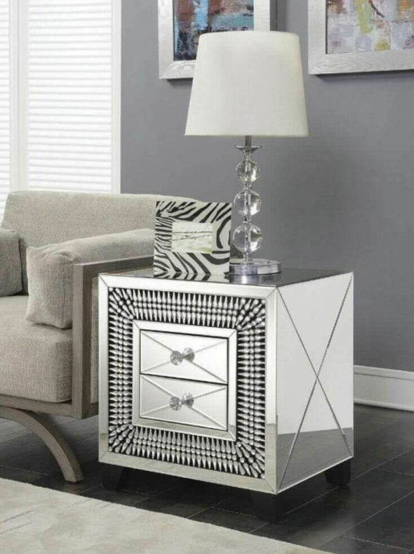 Crystal Mirrored 2 Drawer Side Table