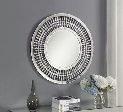 Crystal Mirrored Round Wall Mirror