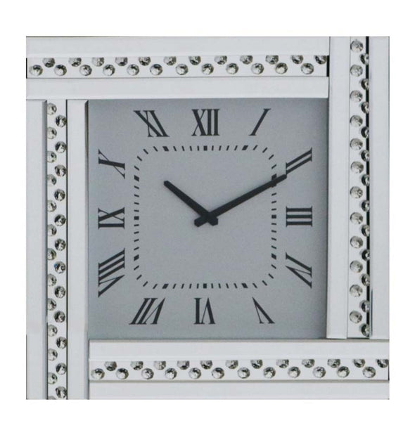 Glitz Mirrored Clock Silver