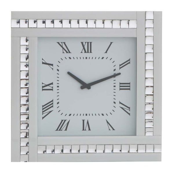 Crystal Mirrored Clock White