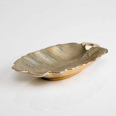 Decorative Leaf Platter Gold