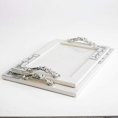 Luxurious Leather Glass Cream Tray Set Of 2