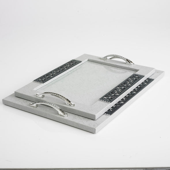 Luxurious Leather Glass Grey Tray Set Of 2