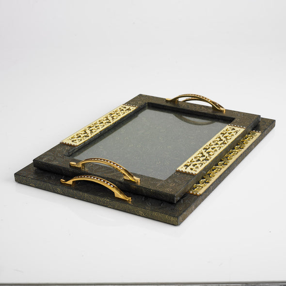 Luxurious Leather Glass Bronze/Gold Tray Set Of 2