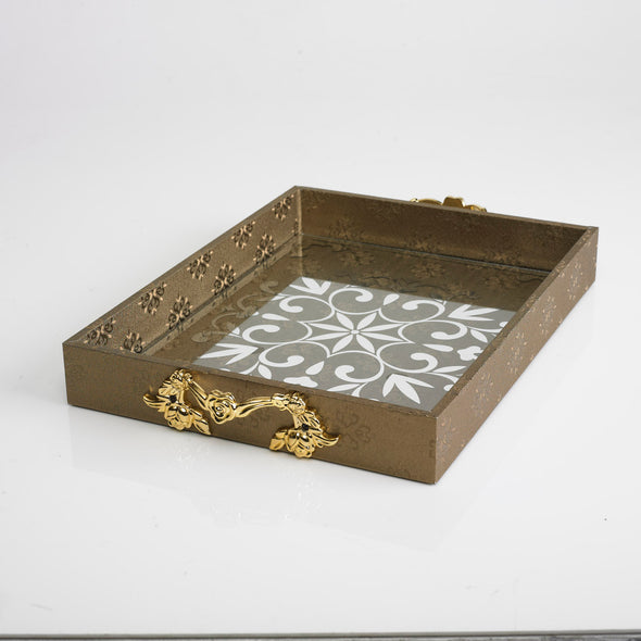 Luxurious Leather Glass Damask Brown Tray With Gold Handles