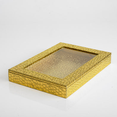 Leather Shiny Gold Box With Transparent Lid