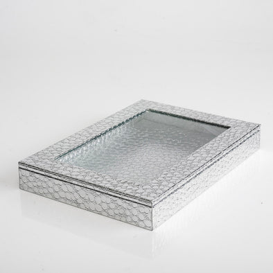 Leather Shiny Silver Box With Transparent Lid