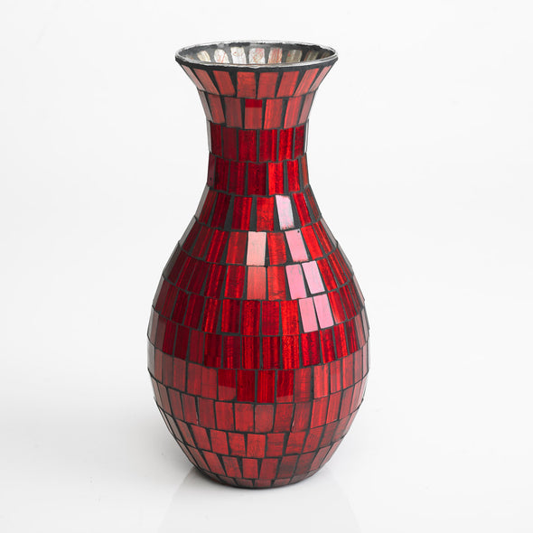 Magnificent Glass Red Mosaic Vase