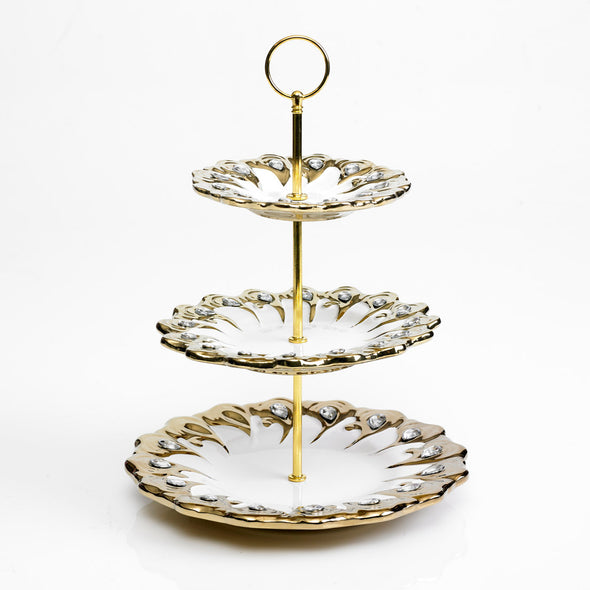 Majestic White & Gold Diamante Embellished 3 Tier Stand