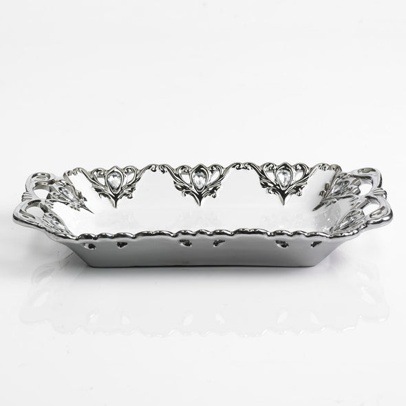 Majestic White & Silver Diamante Embellished Platter