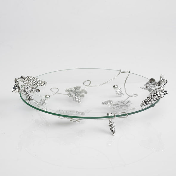 Luxurious Glass Round Silver Nickel Platter