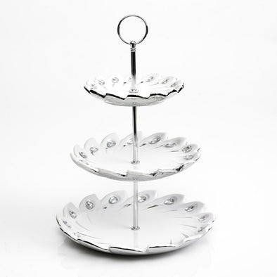 Majestic White & Silver Diamante Embellished 3 Tier Stand