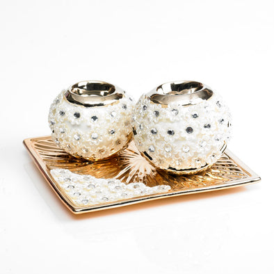 Classic Pearl Embellished Gold Decorative Tea light Candle Holder Set