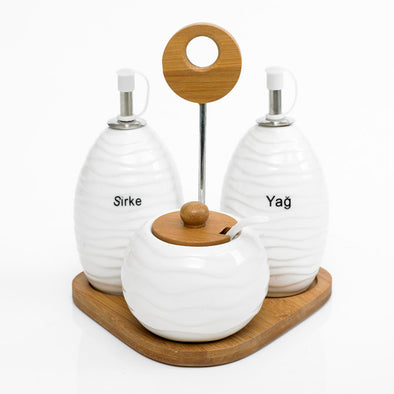 Modern Bamboo Oil Vinegar Cruets & Relish Bowl Set