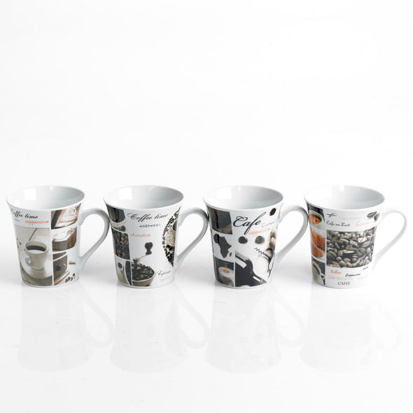 Porcelain 4-Piece Coffee/Latte Mug Set