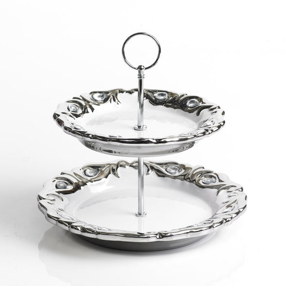 Majestic White & Silver Diamante Embellished 2 Tier Stand