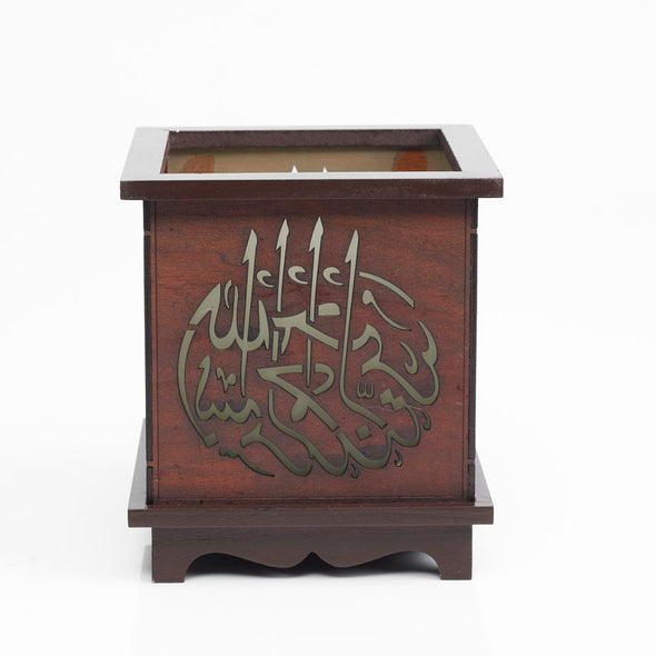 Hand-crafted Islamic Scripted Wooden Light-Up Pillar