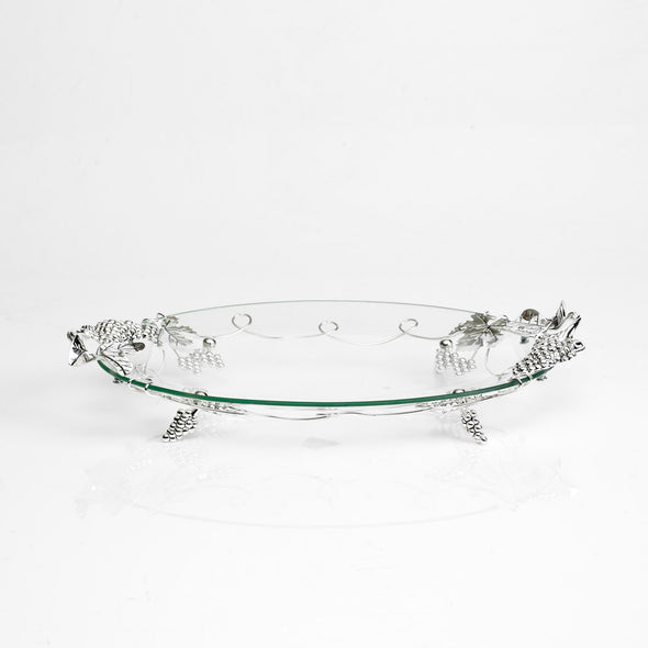 Luxurious Glass Oval Silver Nickel Platter