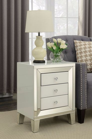 Malibu Mirrored 3 Drawer Side Table
