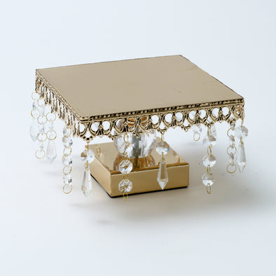 Luxurious Gold Crystal Square Cake Stand