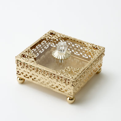 Luxurious Gold Square Intricate Trinket Box