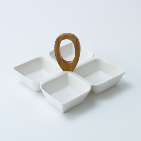 Modern Bamboo Dip/Relish Or Snack Tray
