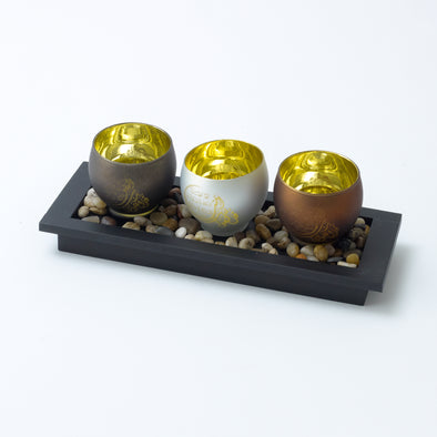Metallic Candle Holder Bowl With Arabic Scripture & Decorative Pebble Tray