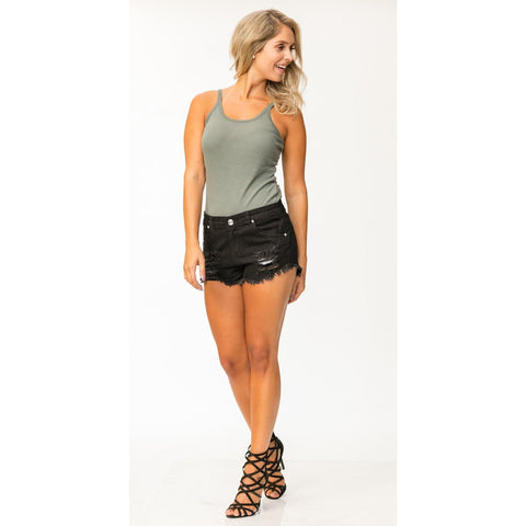Ladies Denim Shorts 1605 BLK