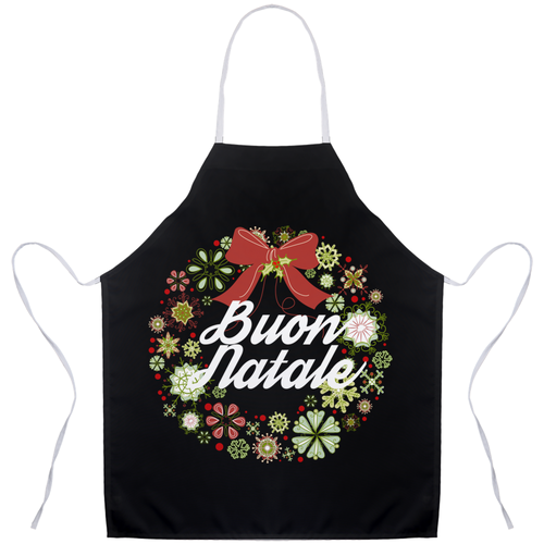 Buon Natale Wreath Holiday Italian Christmas Apron - Shop Italy and Sicily Gifts Made in Italy Italian Themed