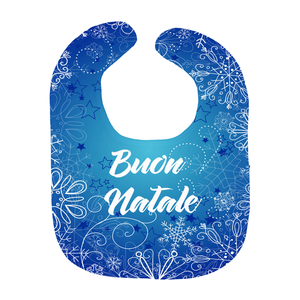 Buon Natale Italian Christmas Gift Snowflake Blue Baby Bib - Shop Italy and Sicily Gifts Made in Italy Italian Themed