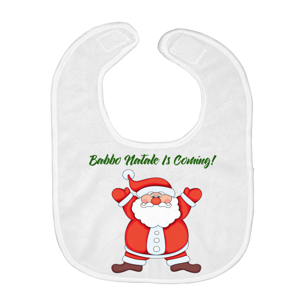 Babbo Natale is Coming! - Funny Santa Italian Christmas Baby Bib - Shop Italy and Sicily Gifts Made in Italy Italian Themed