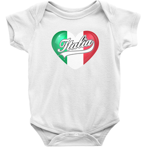 Italia Italian Flag Heart Infant Creeper - Shop Italy and Sicily Gifts Made in Italy Italian Themed