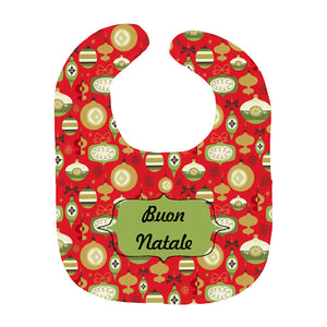 Buon Natale Italian Christmas Red Retro Baby Bib - Shop Italy and Sicily Gifts Made in Italy Italian Themed