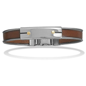 "Made in Italy 8.5"" Stainless Steel Leather Men's Bracelet Gold Accents Italian Jewelry - Shop Italy and Sicily Gifts Made in Italy Italian Themed"