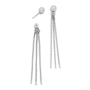 Made in Italy Rhodium Plated Bead Stud Earrings with Hanging Chain Backs Italian Jewelry - Shop Italy and Sicily Gifts Made in Italy Italian Themed